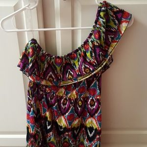 colorful off shoulder top sz large